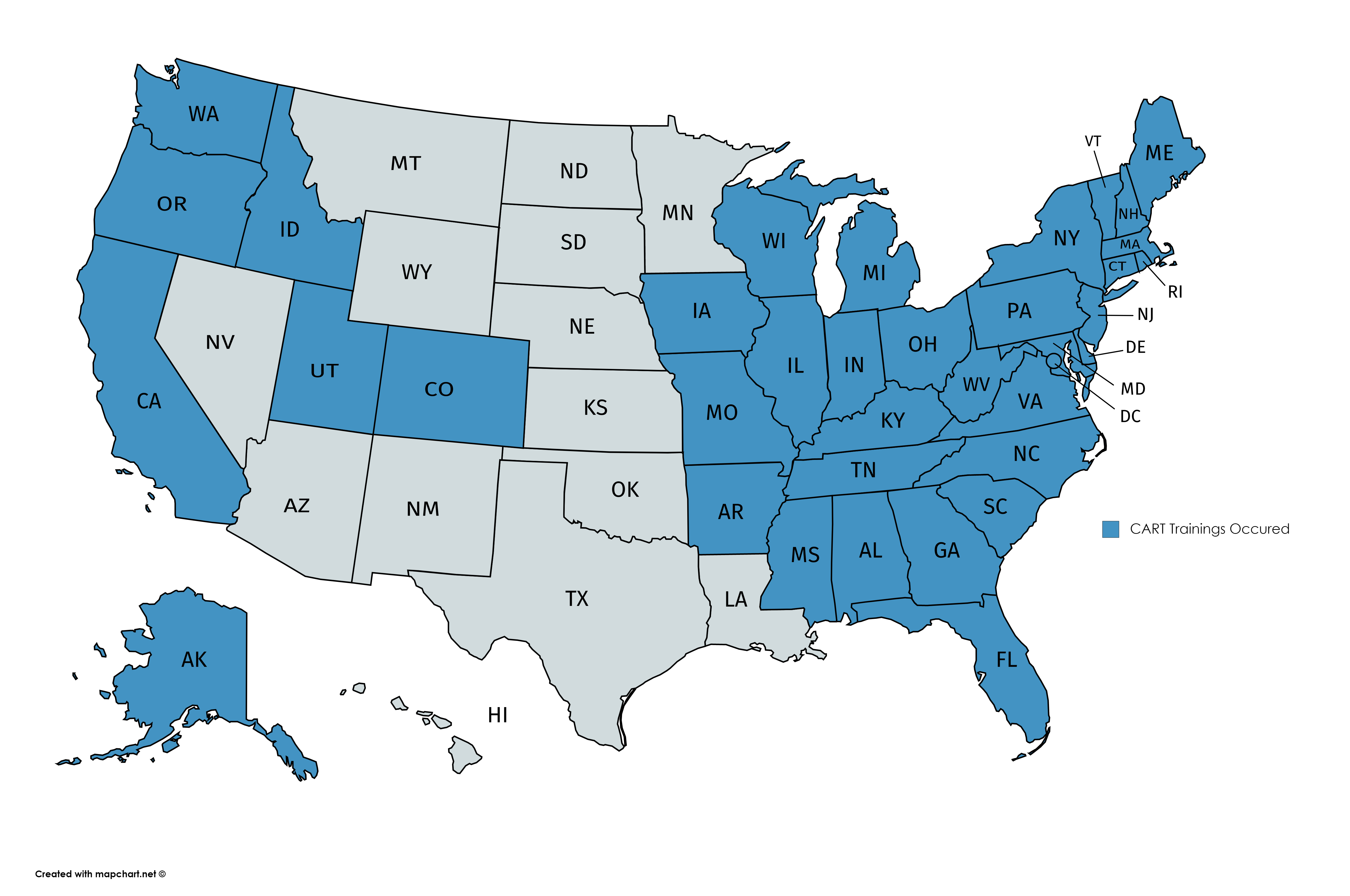 CART Trainings by State